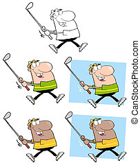 Happy Golfer Running