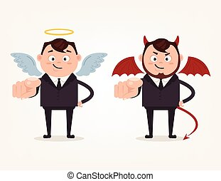 Happy good angle and bad angry devil business man characters pointing on you with finger. Vector flat cartoon illustration
