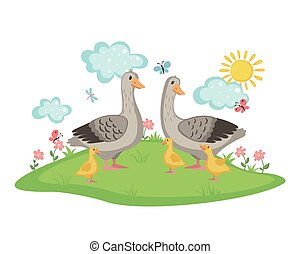 Happy goose family. - Happy Goose family with geese and...