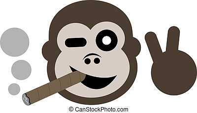 Happy gorilla smoking - Creative design of happy gorrila...