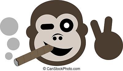 Happy gorilla smoking - Creative design of happy gorrila ...