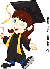 Happy graduate - vector illustration of Happy girl graduate