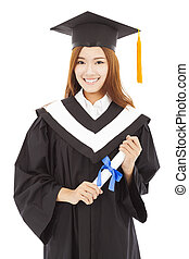 happy Graduate woman Holding diploma. isolated on white