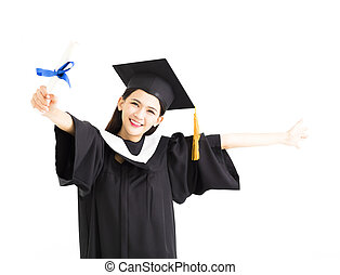 happy Graduate woman showing the diploma