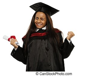 Happy graduated african-american student girl isolated on white