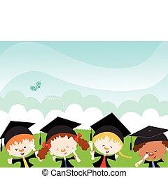 Happy Graduates - Kids celebrating graduation.