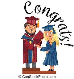 Happy graduates on celebration ceremony flat poster.