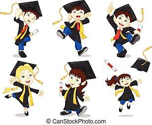 Happy graduates - vector illustration of Happy boy graduates