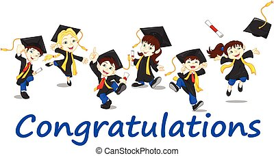 Happy graduates - vector illustration of Happy boy graduates