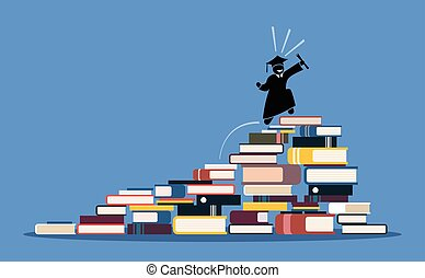 Happy graduating student climbing to the top of book piles.