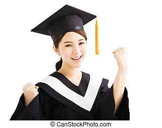 happy graduating student raise hand with success gesture