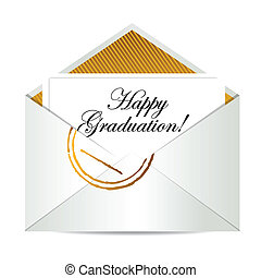 Happy graduation congratulatory letter illustration design...