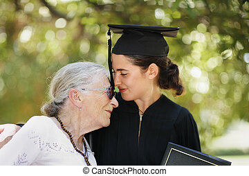 Happy graduation - Happy graduate with grandmother ...