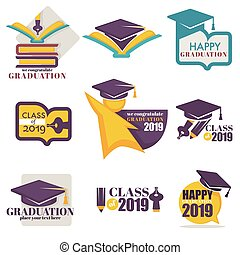 Happy graduation isolated icons academic hat and books
