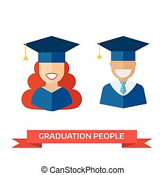 Happy Graduation Man and Woman Education Icons
