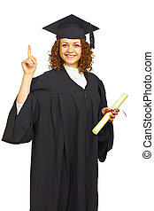 Happy graduation student isolated