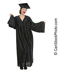 Happy graduation student woman dancing isolated