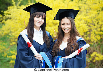 happy graduation students - group of graduation students in...
