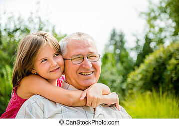 Happy grandfather with grandchild - Outdoor lifestyle ...