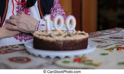Happy grandmother, her 100 years