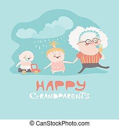 Happy grandmother with their grandchildren. Vector...