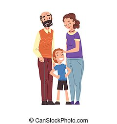 Happy Grandparents and their Little Grandson Standing Together Cartoon Style Vector Illustration Isolated on White Background