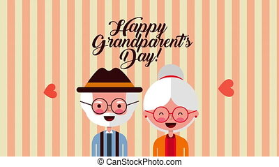 happy grandparents day card with couple lovers ,4k video...