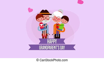 happy grandparents day card with family members ,4k video...