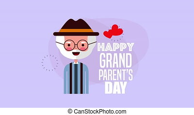 happy grandparents day card with grandfather