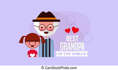 happy grandparents day card with grandfather and...