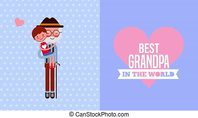 happy grandparents day card with grandfather and grandson...