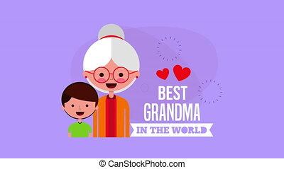 happy grandparents day card with grandmother and grandson...