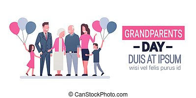 Happy Grandparents Day Greeting Card Banner Big Family Together
