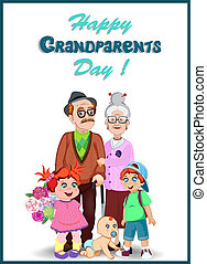Happy grandparents day greeting card. Cartoon elderly couple and grandchildren together.