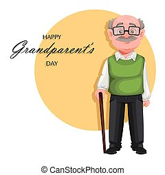 Handsome smiling old man. Cheerful grandfather - Happy ...