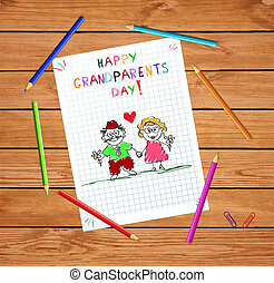 happy grandparents day kids hand drawn greeting card with grandpa and grandma together.