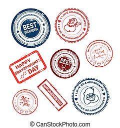 Happy Grandparents Day Stamps Collection Greeting Icons Set