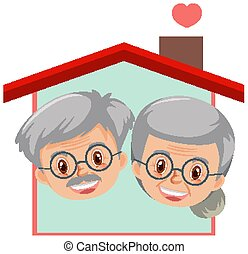 Happy grandparents logo on white background