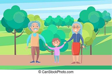 Happy Grandparents Senior Couple Walking with Grandson