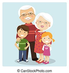 Happy grandparents with grandchildren on blue background....