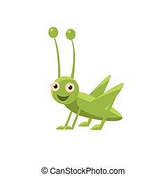 Happy Grasshopper Icon - Happy Grasshopper Childish...