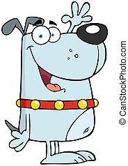Happy Gray Dog Cartoon Character