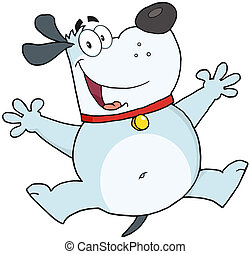 Happy Gray Fat Dog Jumping