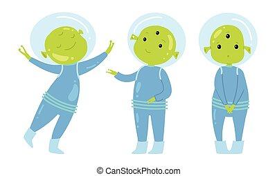 Happy green alien in blue costumes vector illustration