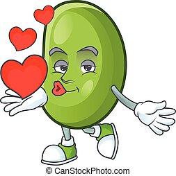 Happy green beans cartoon character mascot with heart