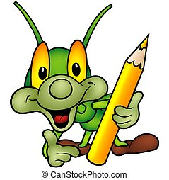 Happy Green Bug as painter