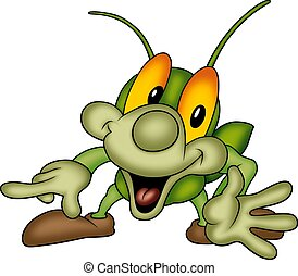 Happy green bug - Beetle 13 - High detailed and coloured...