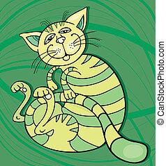 Happy Green Cat - Illustration of Happy Green Cat