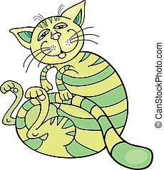 happy green cat - Cartoon illustration of happy green cat