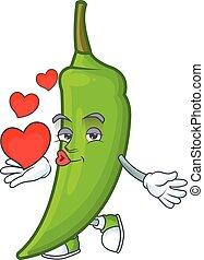 Happy green chili cartoon character mascot with heart